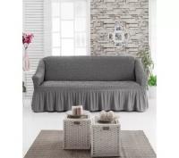 Чехол на трехместный диван серый