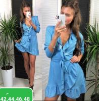 Платье в горох на запах голубое RH