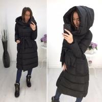 Болоневое пальто с капюшоном и пояском черное ZI LE