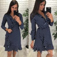 Платье с длинным рукавом в горох dark blue LE