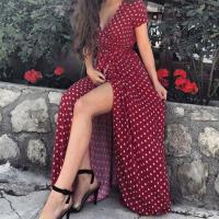 Платье в горошек на запах bordo KH110