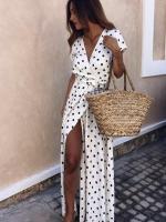 Платье в горошек на запах white KH110