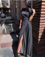 Платье в горошек на запах black KH110