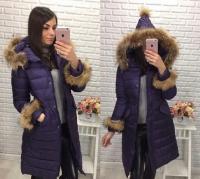 Пальто с натур мехом рукава и капюшон колпак purple LE  8606