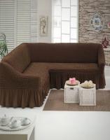 Чехол на угловой диван шоколад
