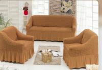 Натяжные чехлы на мягкую мебель диван и 2 кресла медовый