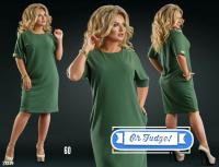 Платье SIZE PLUS вставка на плече и манжете хаки 21240 UM43