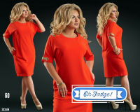 Платье SIZE PLUS вставка на плече и манжете красное 21240 UM43