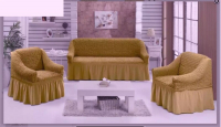 Натяжные чехлы на мягкую мебель диван и 2 кресла горчица