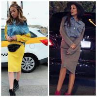 Котюм юбка и джинсовка с вязаными рукавами DIM