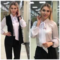 Костюм тройка жакет, брюки и блуза черный RH122
