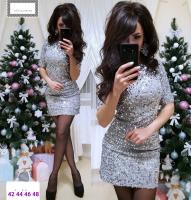 Платье пайетки на велюре серебро RX1-48