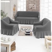 Натяжные чехлы на мягкую мебель диван и 2 кресла серый