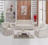 Натяжные чехлы на мягкую мебель диван и 2 кресла молочный