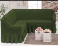 Чехол на угловой диван оливка