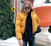 Куртка дутик стойка ворот желтая ZI T124