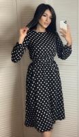 Платье софт в горошек с поясом черное K115