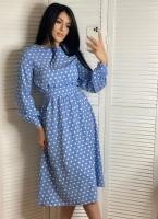 Платье софт в горошек с поясом голубое K115