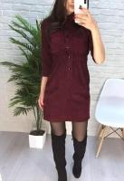 Платье вельвет прямое с кармашками бордо A133