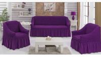 Натяжные чехлы на мягкую мебель диван и 2 кресла purple