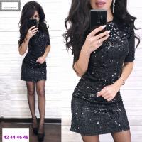 Платье пайетки на велюре черное RX1-48