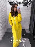 Туника-платье на флисе с карманом кенгуру желтая UM37