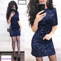 Платье пайетки на велюре синее RX1-48
