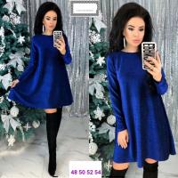 Платье Size Plus трикотажный люрекс синее RX1-48