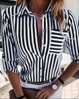 Рубашка черная полоса с кармашком A116