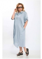 Платье лайт SIZE PLUS голубое стразы RH122