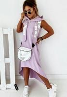 Платье барби с капюшоном удлиненное сзади сирень UM29