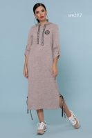 Платье ангора софт с капюшоном пудра UM29