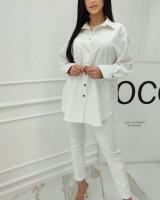 Удлиненная рубашка лайт белая A133