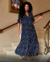 Платье миди в горох Черное O114