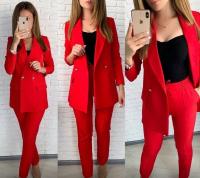 Костюм пиджак на подкладе барби и брюки красный ED111
