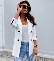 Пиджак с пуговицами белый A116