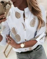Рубашка без воротничка Ананасы A133