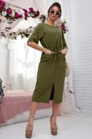 Платье итальянка с карманами хаки UM29