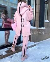 Костюм на флисе с молнией Style розовый D31
