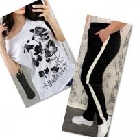 Костюм белая футболка SIZE Plus FLWERS с брюками черными IN