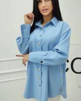 Удлиненная рубашка лайт голубая A133