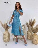 Платье софт в горошек голубое RXA233.6