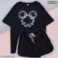 Шорты и черная футболка H70 микки-цветы SV