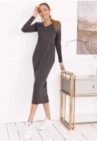 Платье креп длинное темно-серое OP37