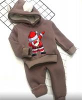 Детский утепленный костюм с ушками хайп дед мороз каппучино Xi