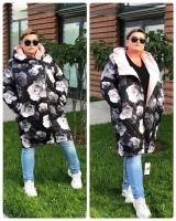 Удлиненная куртка демисезон Size Plus РОЗЫ 3В KSU