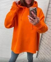 Свитшот утепленный с капюшоном SIZE PLUS оранжевый R4-123