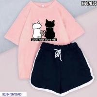 Шорты и розовая футболка SIZE PLUS котики SV