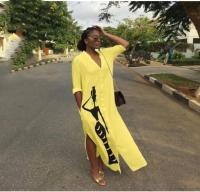 Платье SIZE PLUS пуговках длинное желтое KH OP37