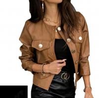 Стильный пиджак под кожу песочный K133 116